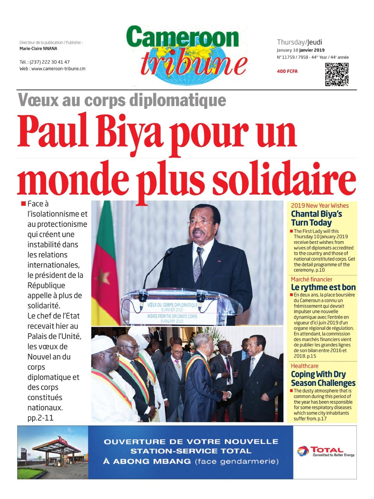 Cameroon Tribune <br/> 10/01/2019