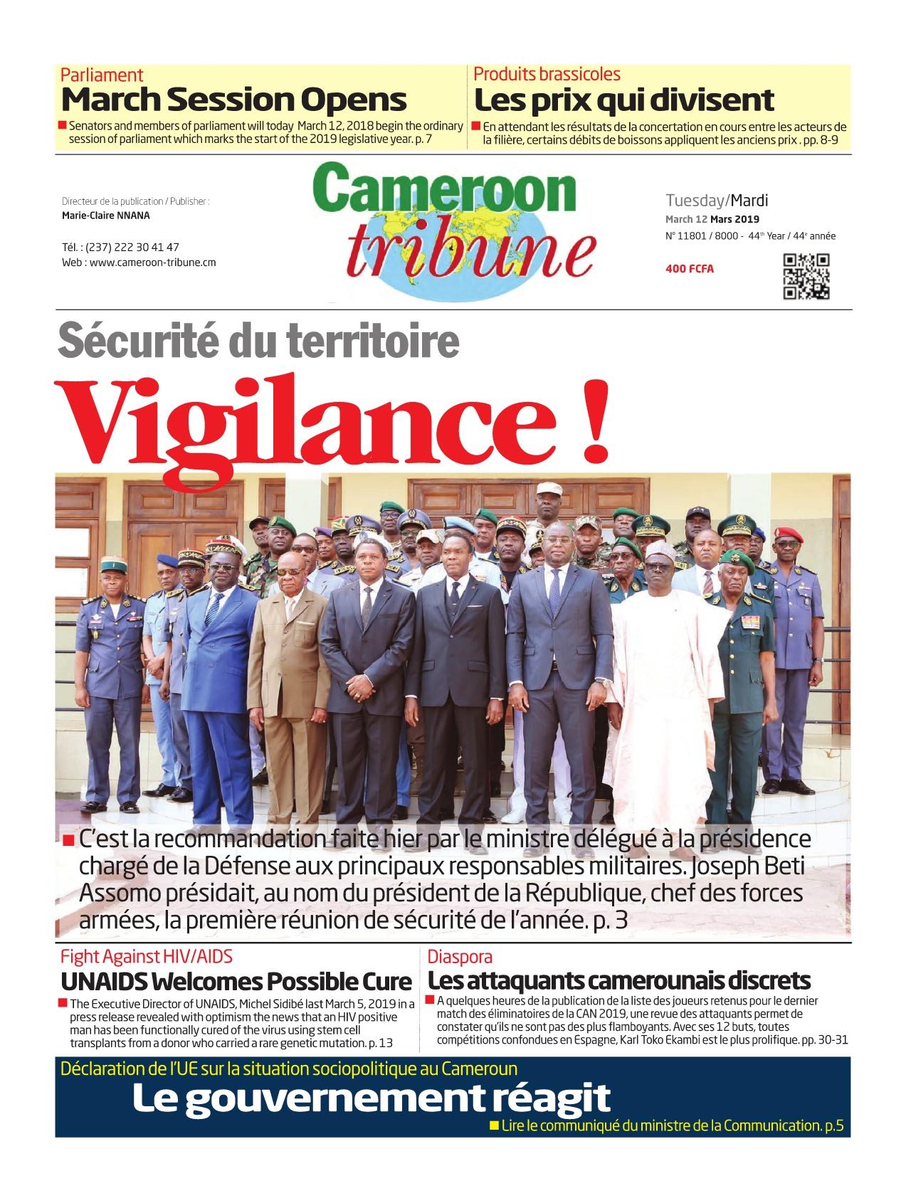 Cameroon Tribune <br/> 12/03/2019
