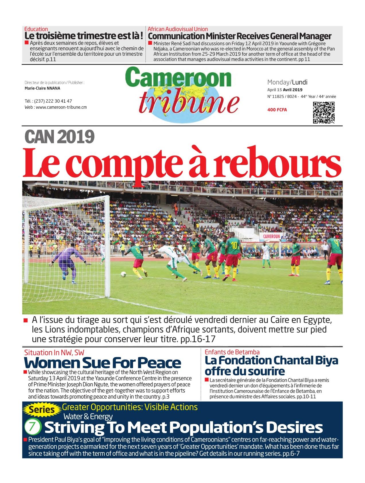 Cameroon Tribune <br/> 15/04/2019