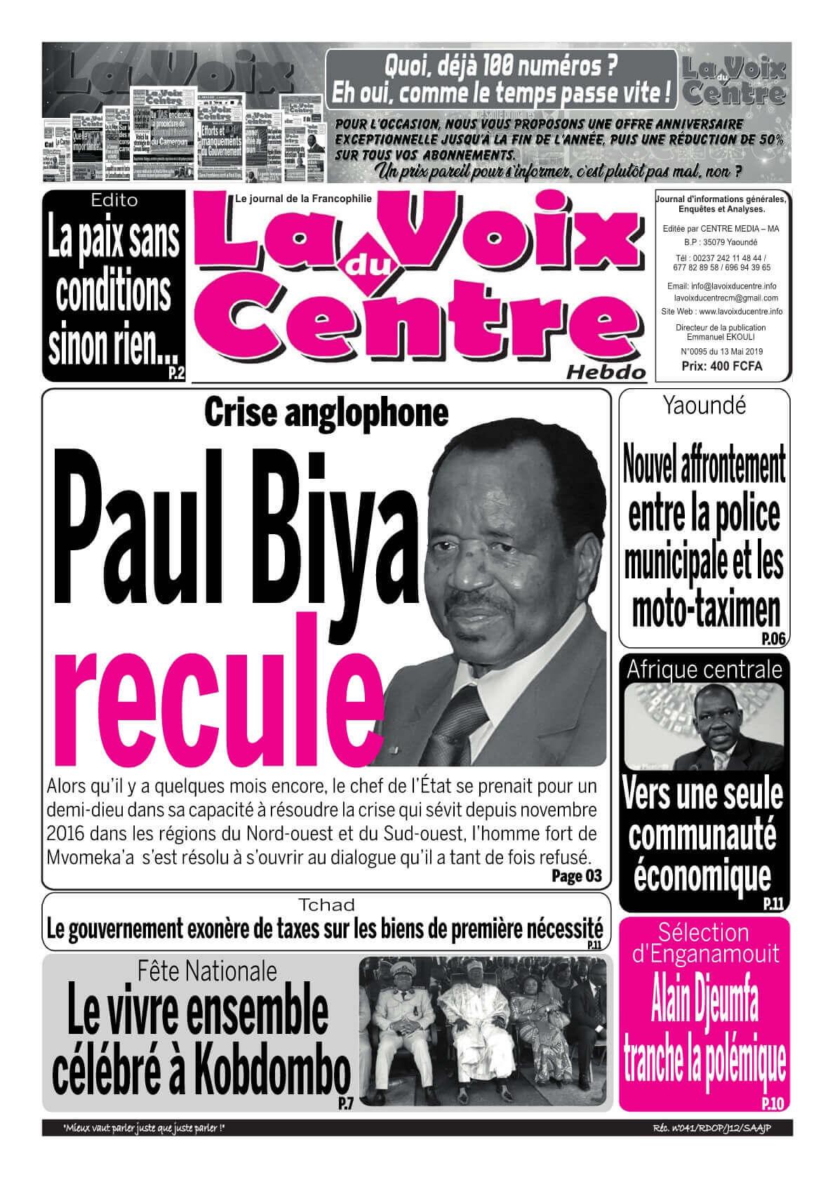LA VOIX DU CENTRE <br/> 13/05/2019