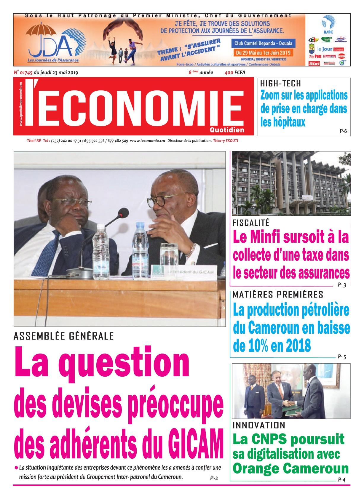 Le Quotidien de l'Economie - 23/05/2019