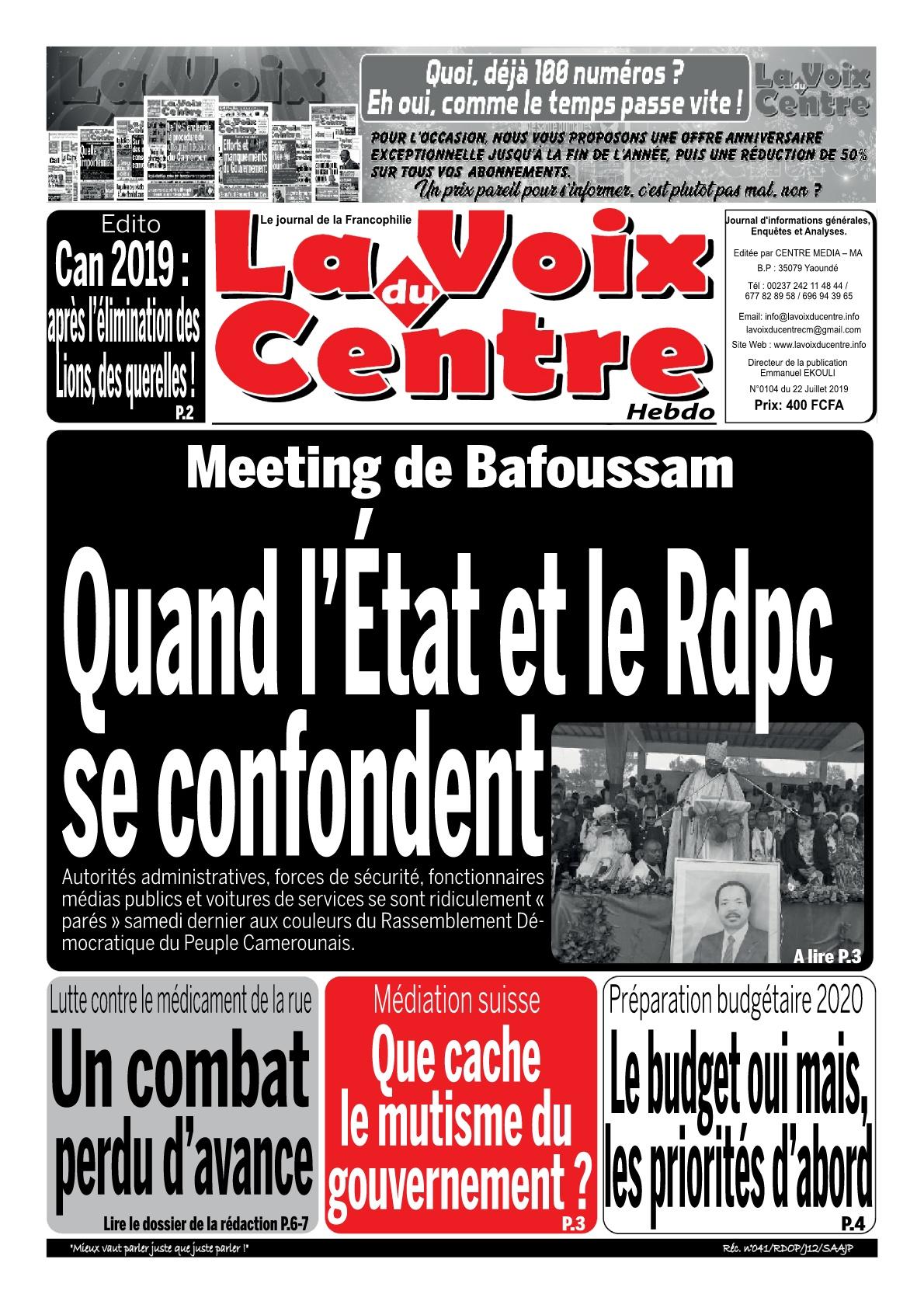 LA VOIX DU CENTRE - 22/07/2019