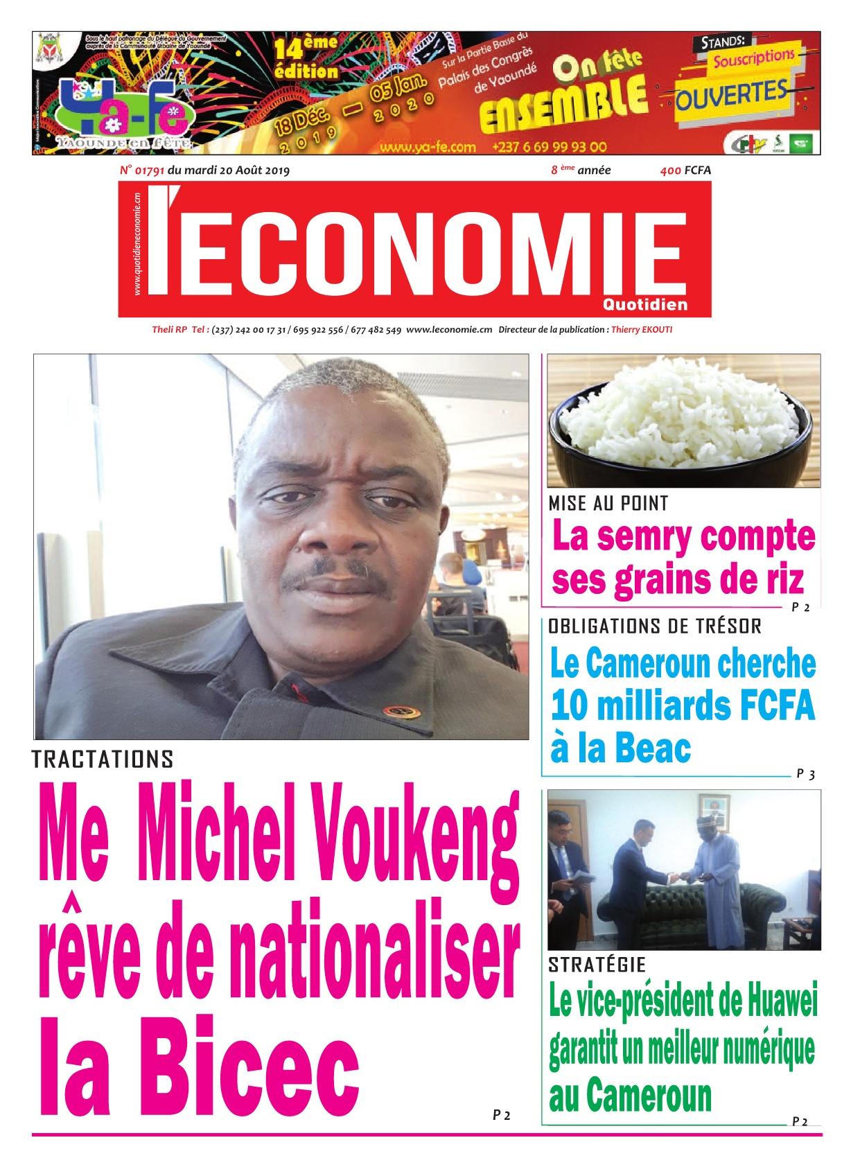 Le Quotidien de l'Economie - 20/08/2019