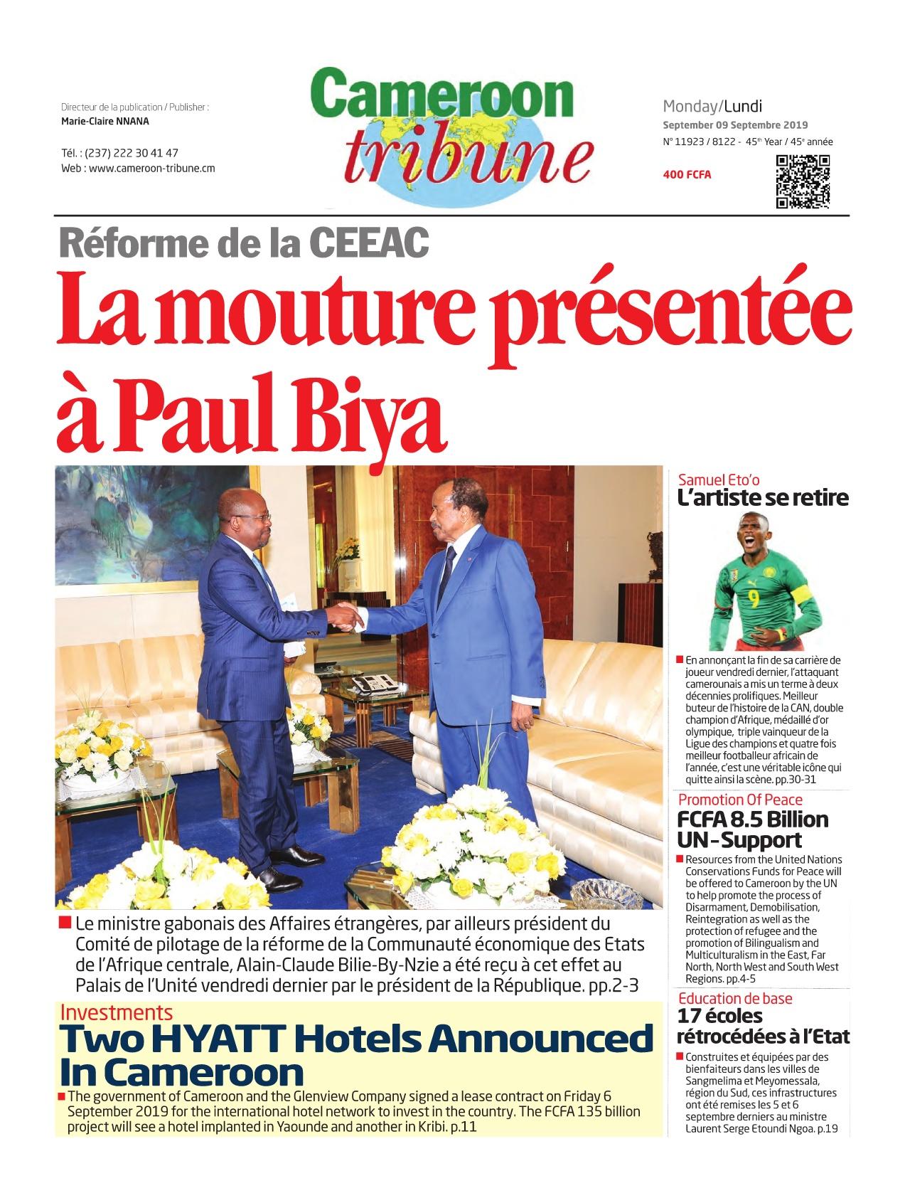 Cameroon Tribune - 09/09/2019