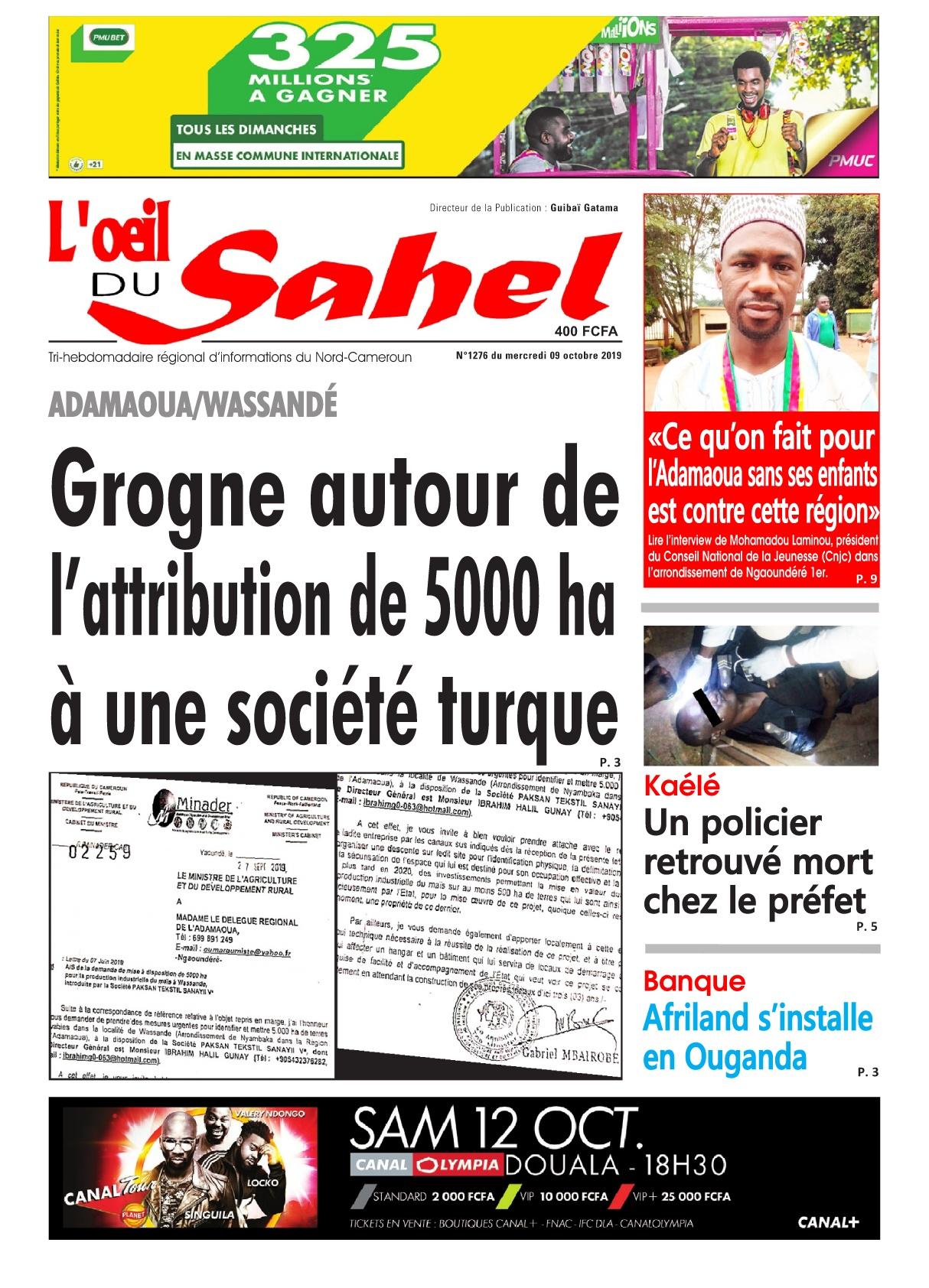 L'oeil du Sahel - 09/10/2019