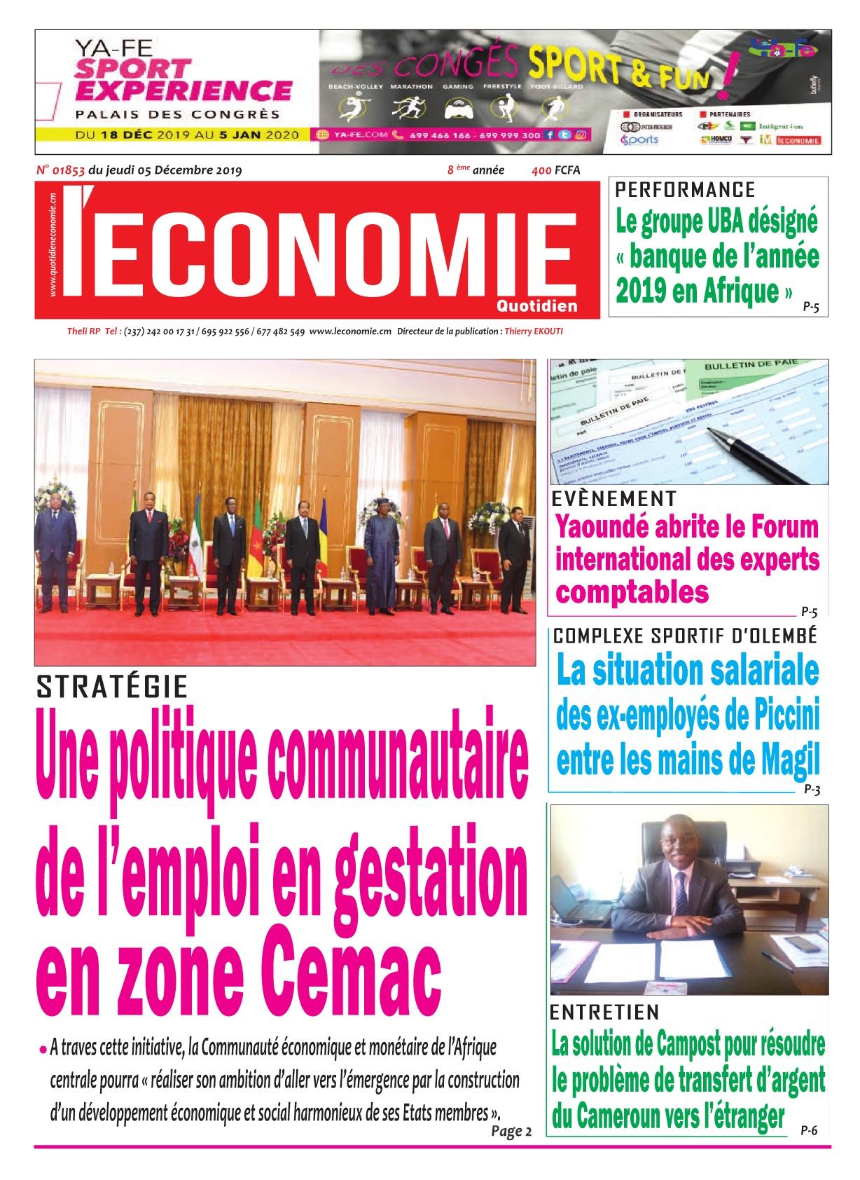Le Quotidien de l'Economie - 05/12/2019