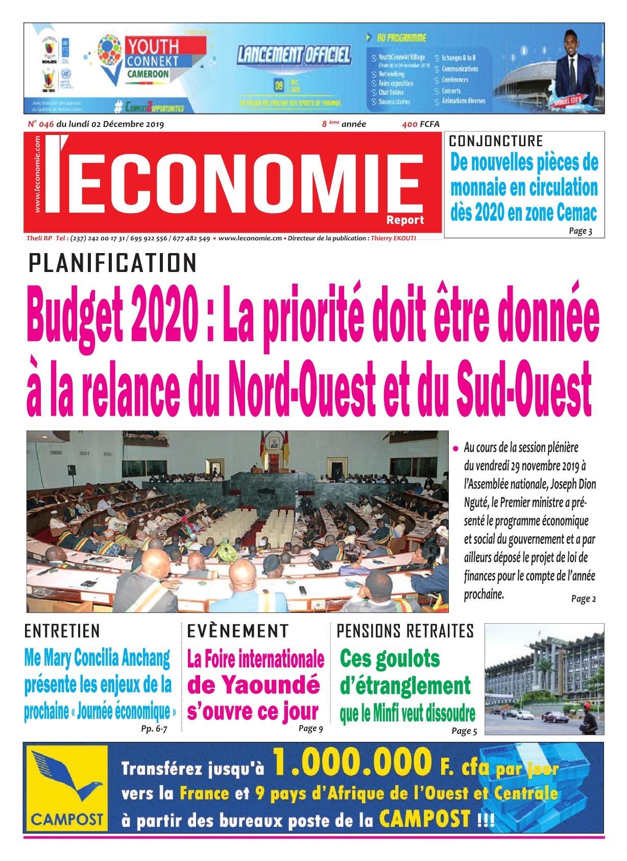 Le Quotidien de l'Economie - 02/12/2019