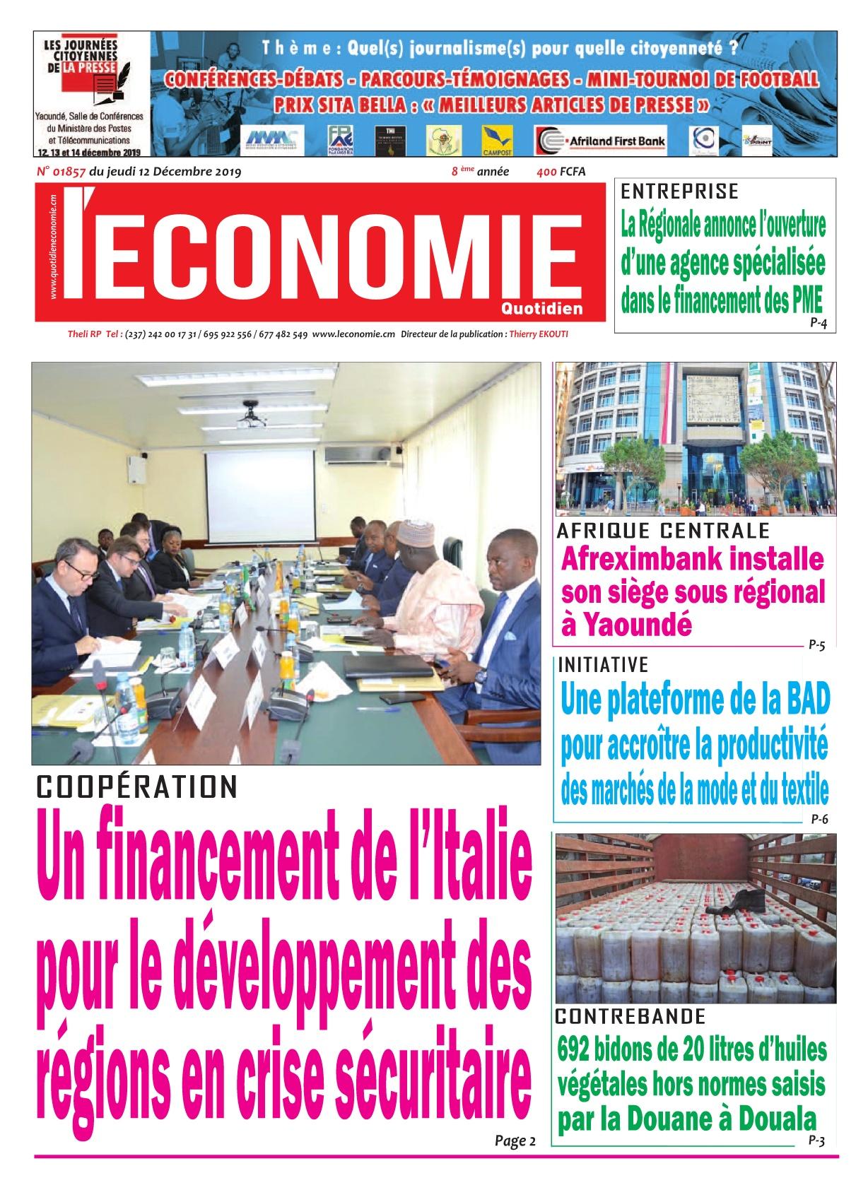 Le Quotidien de l'Economie - 12/12/2019