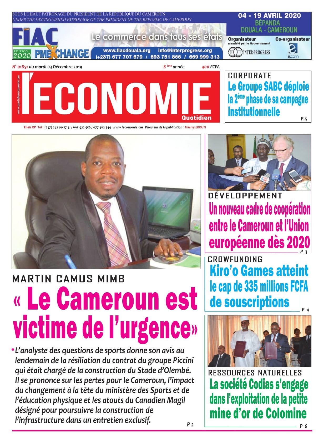 Le Quotidien de l'Economie - 03/12/2019