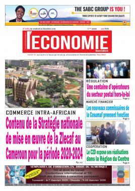 Le Quotidien de l'Economie - 20/12/2019