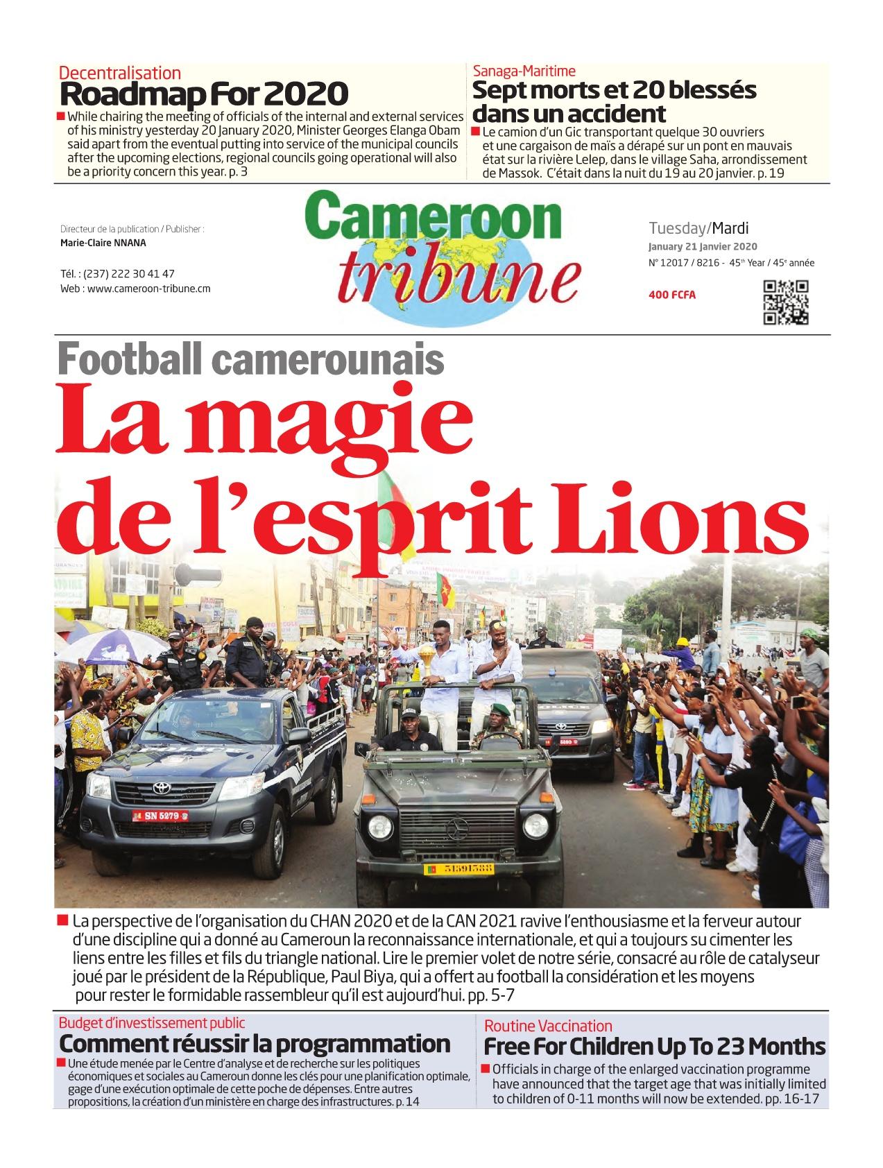 Cameroon Tribune - 21/01/2020