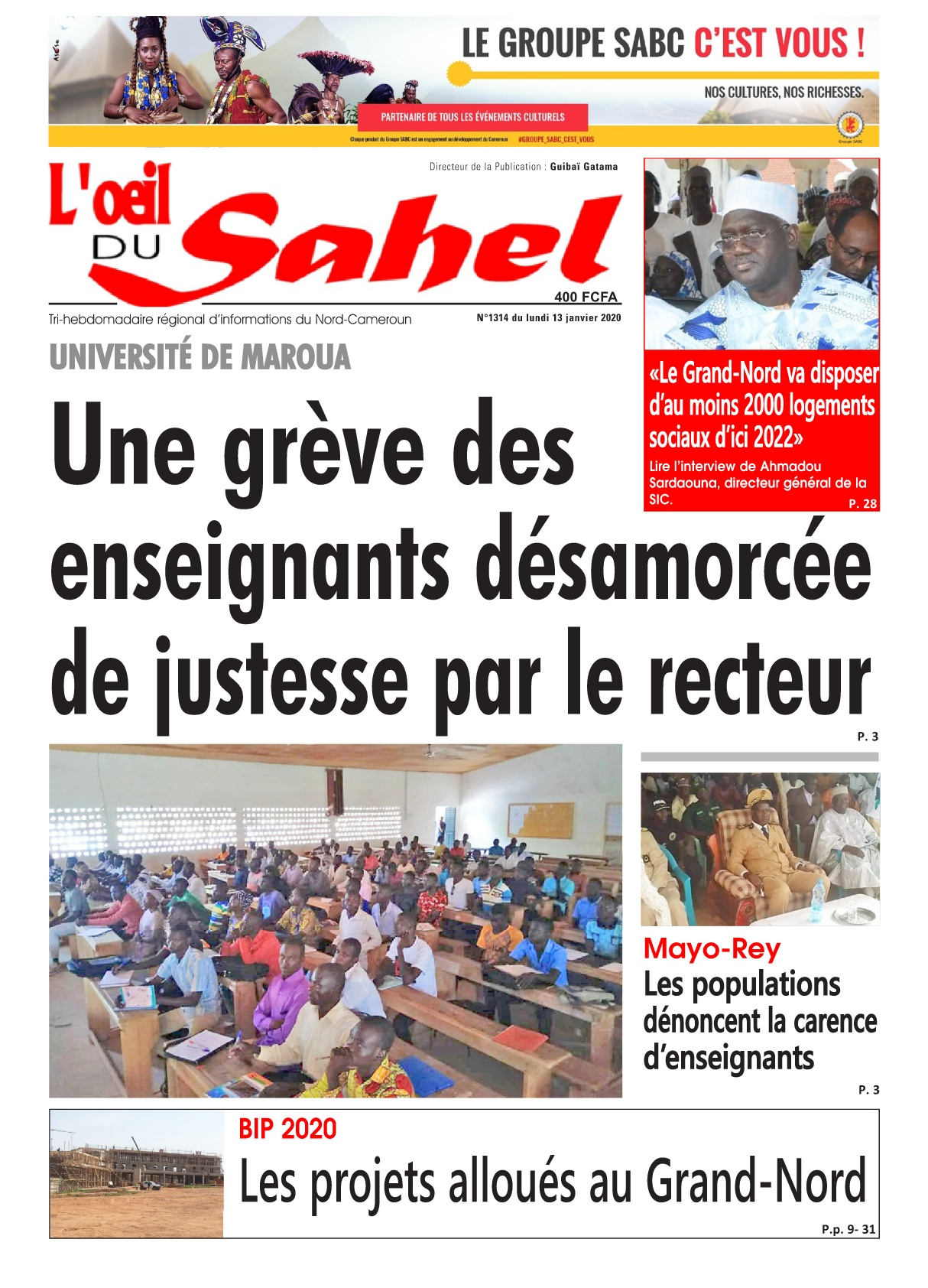 L'oeil du Sahel - 13/01/2020