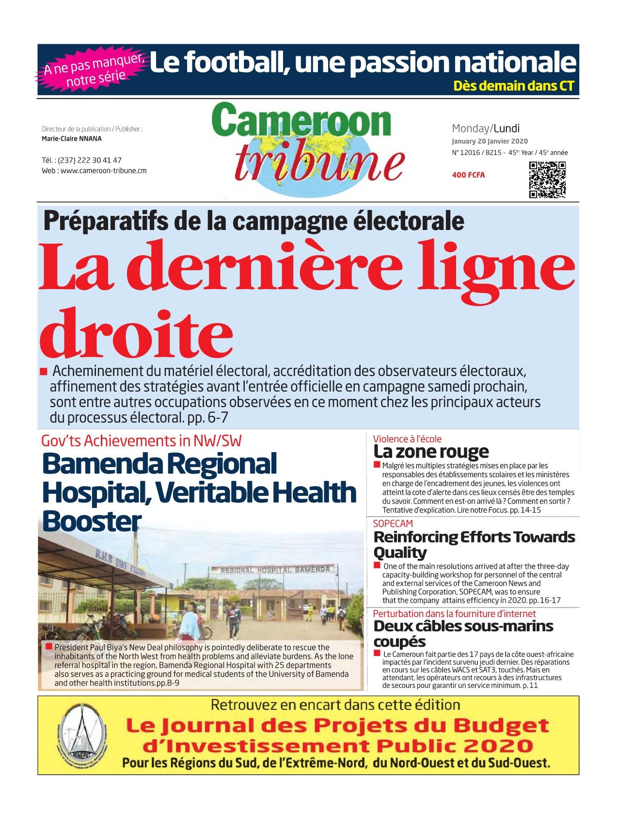 Cameroon Tribune - 20/01/2020