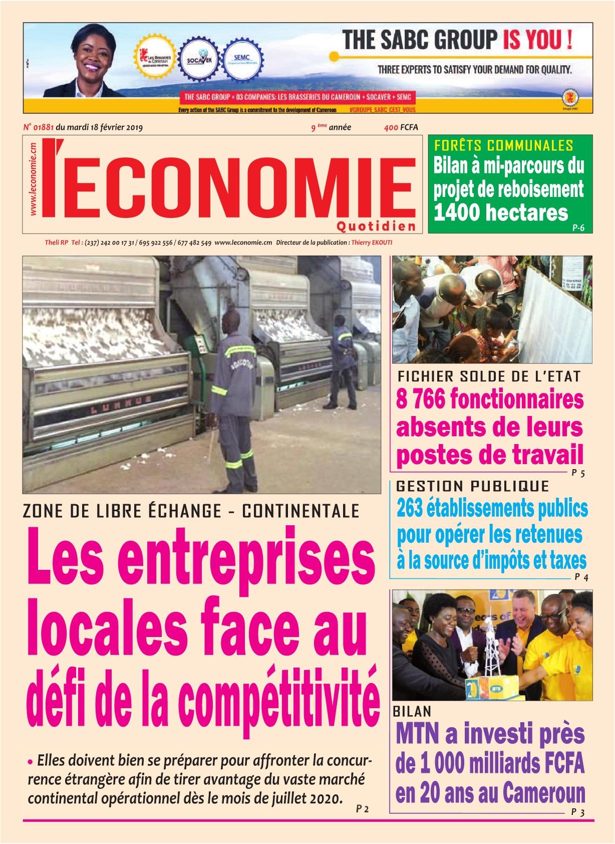 Le Quotidien de l'Economie - 18/02/2020