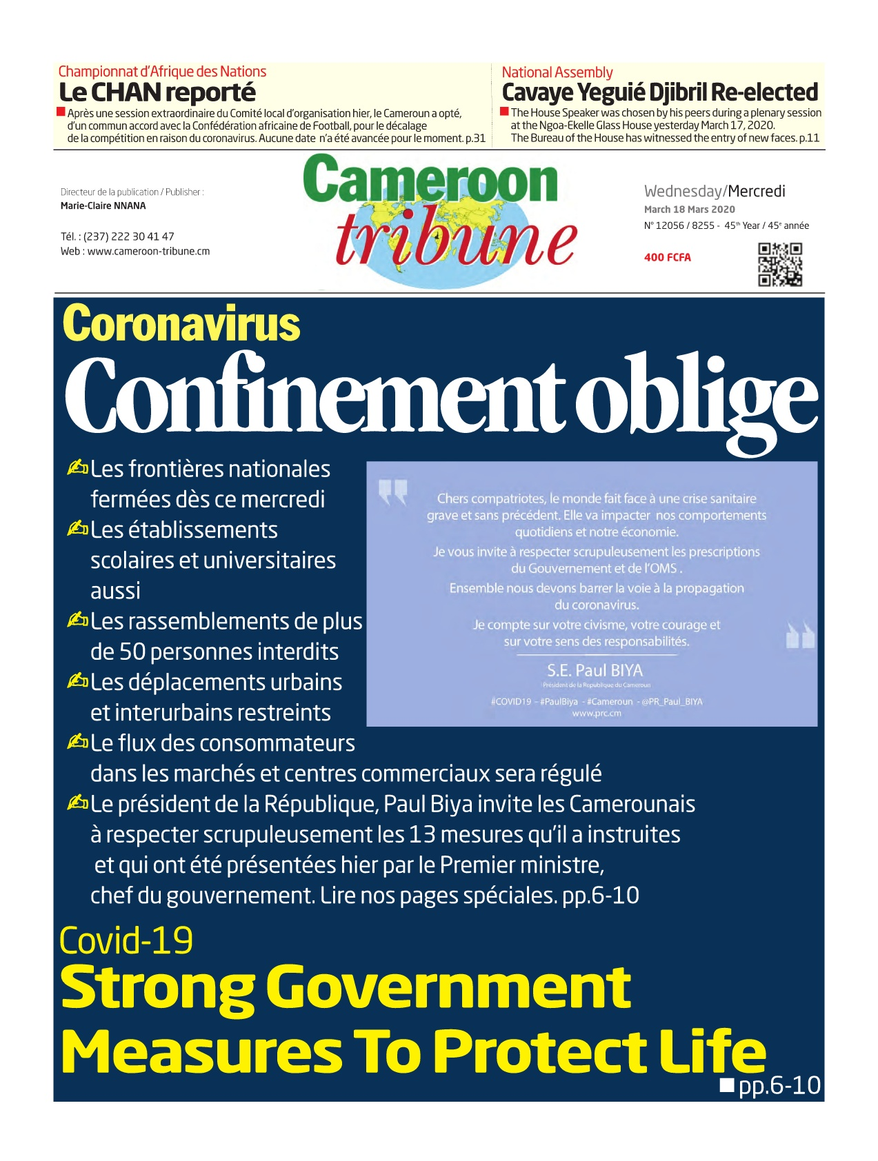 Cameroon Tribune - 18/03/2020