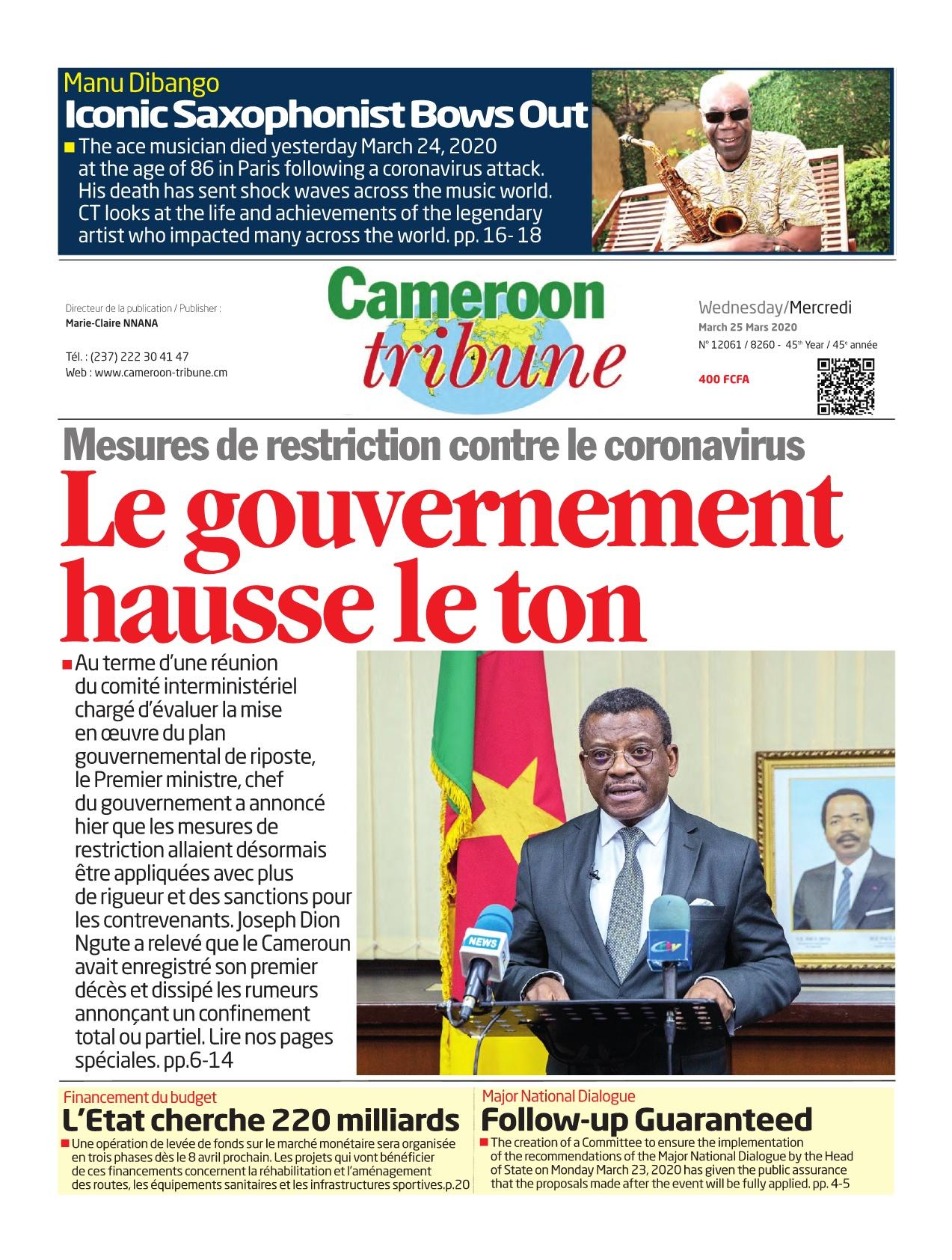 Cameroon Tribune - 25/03/2020