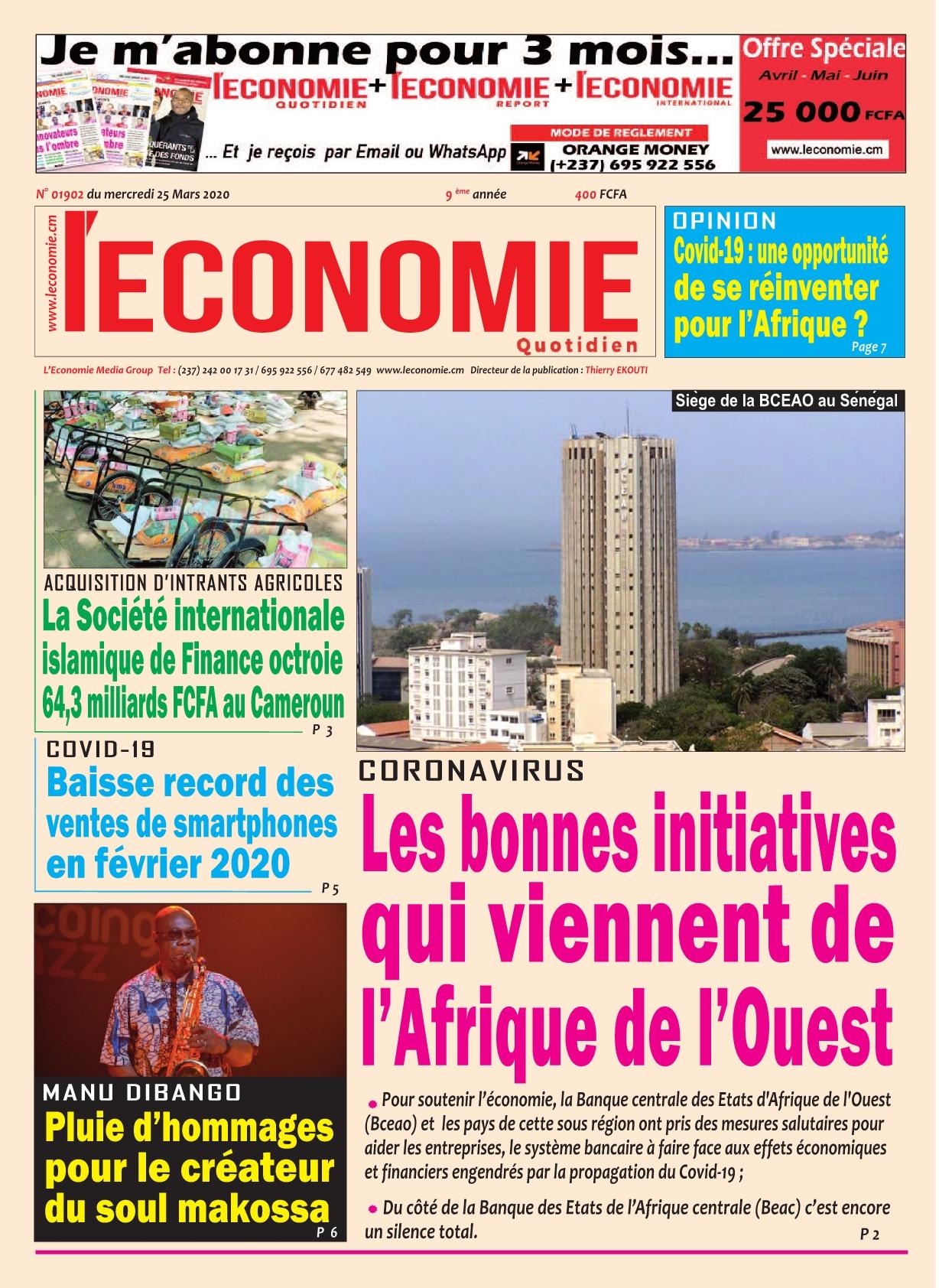 Le Quotidien de l'Economie - 25/03/2020