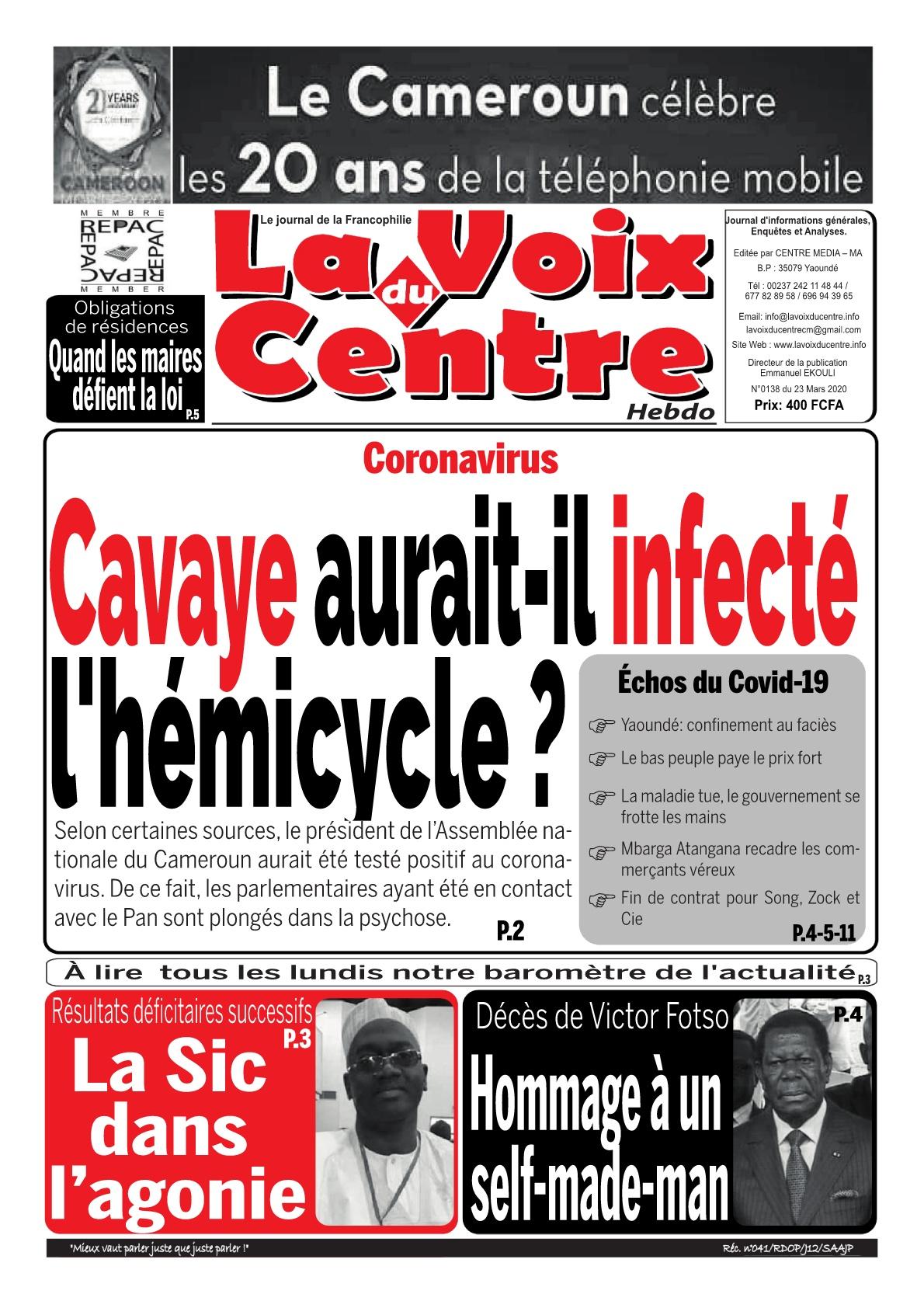 LA VOIX DU CENTRE - 23/03/2020