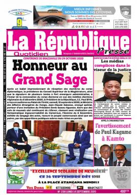 LA REPUBLIQUE PRESSE - 14/09/2020