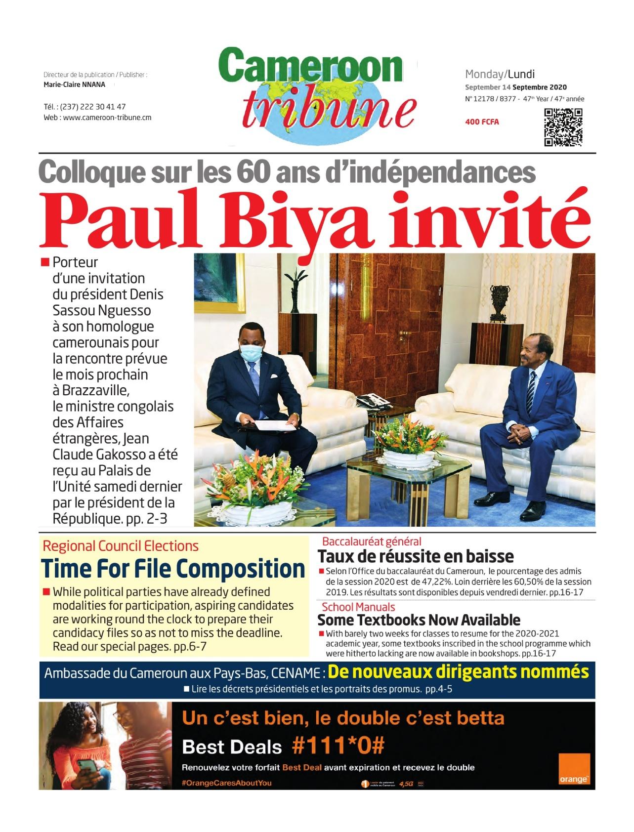 Cameroon Tribune - 14/09/2020