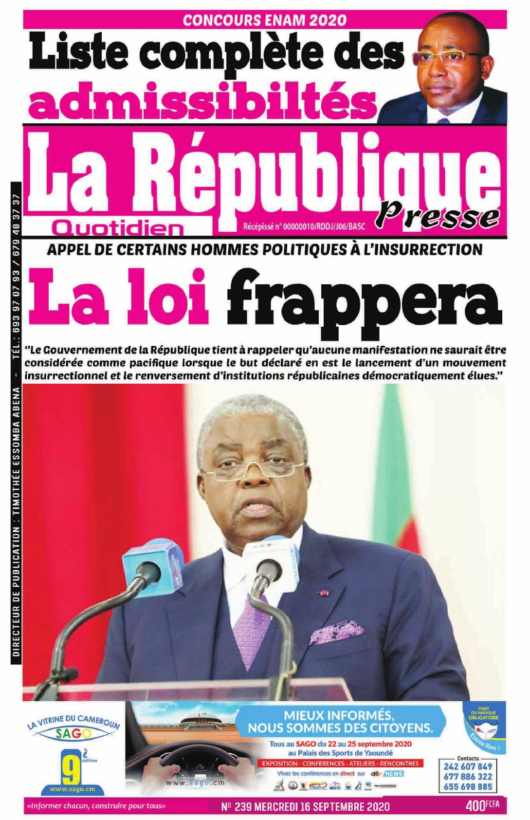 LA REPUBLIQUE PRESSE - 16/09/2020