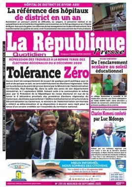 LA REPUBLIQUE PRESSE - 09/09/2020