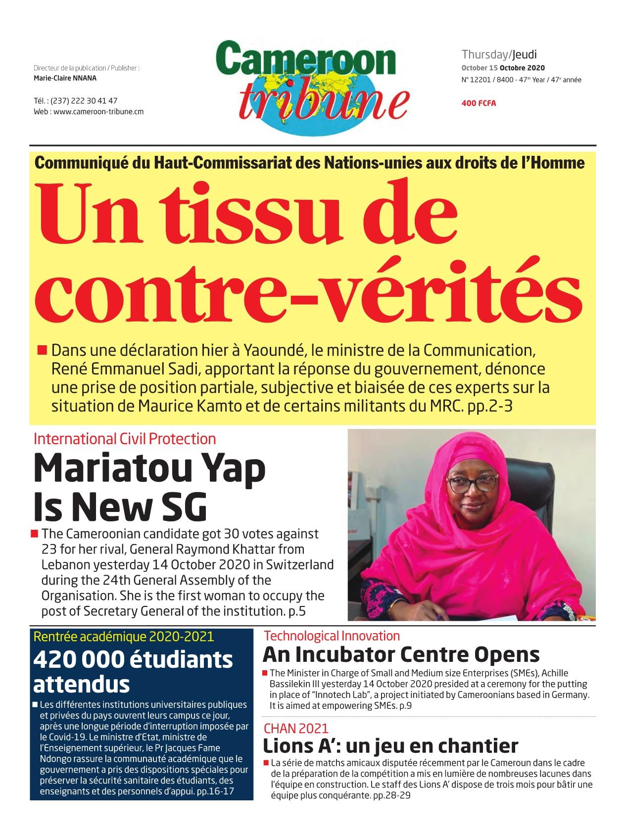 Cameroon Tribune - 15/10/2020