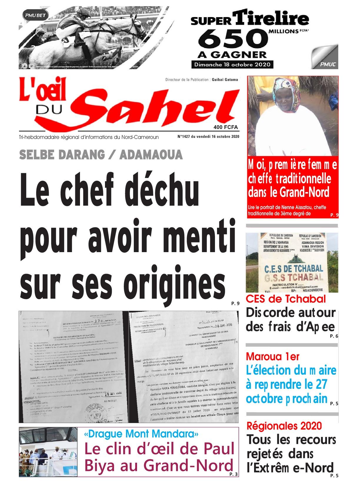 L'oeil du Sahel - 16/10/2020