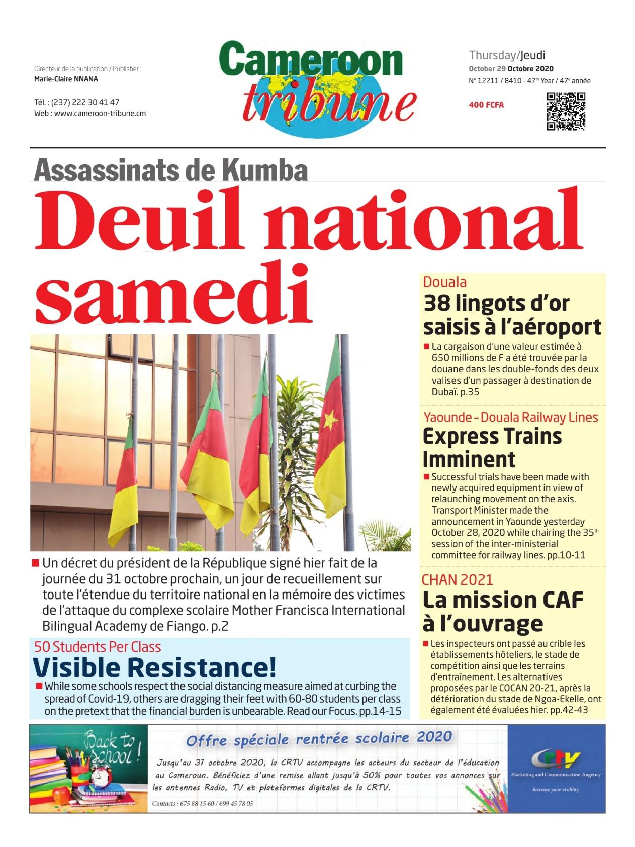 Cameroon Tribune - 29/10/2020