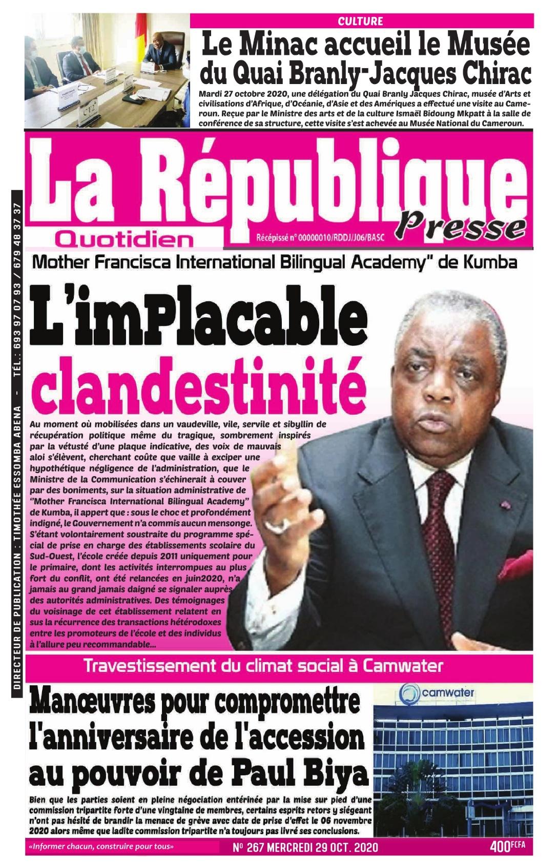 LA REPUBLIQUE PRESSE - 29/10/2020