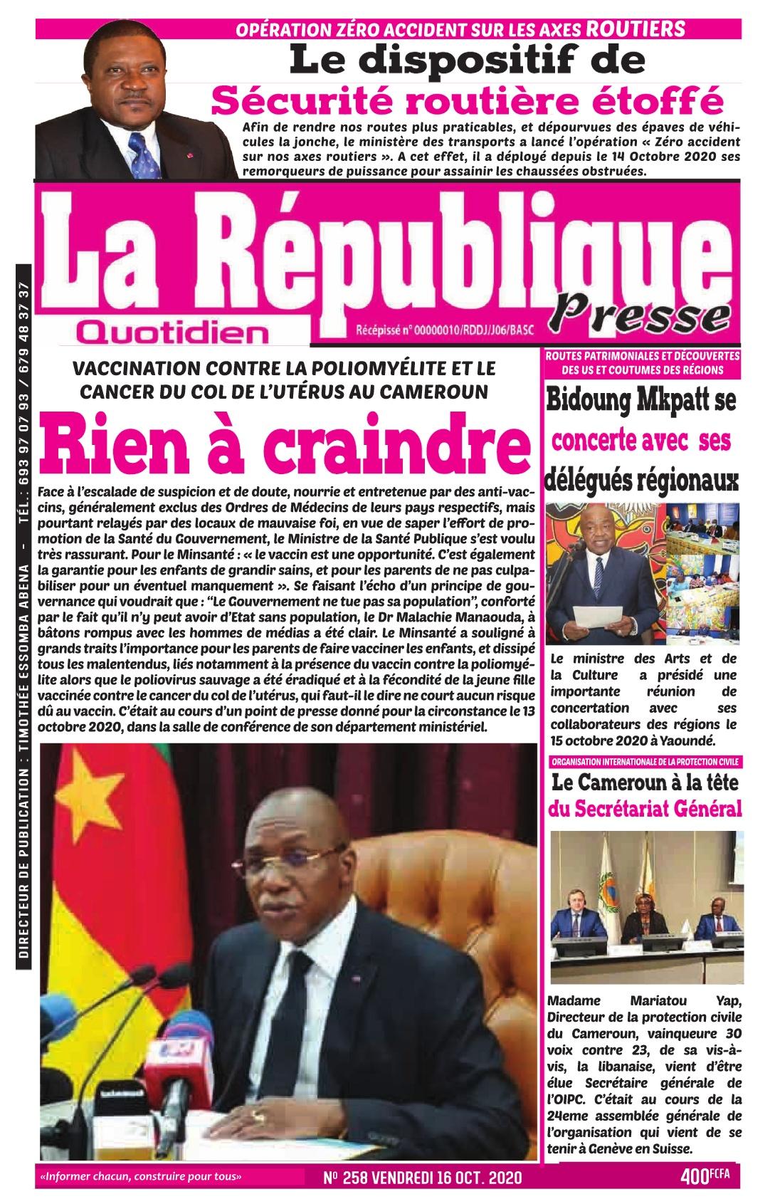 LA REPUBLIQUE PRESSE - 16/10/2020