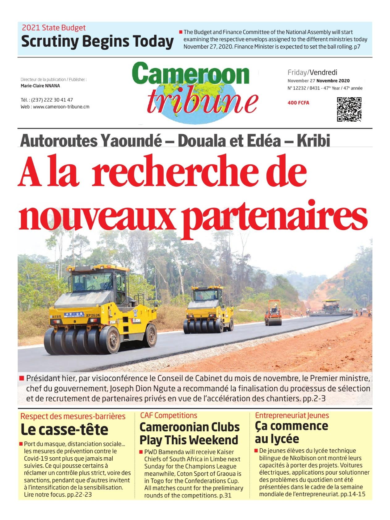 Cameroon Tribune - 27/11/2020