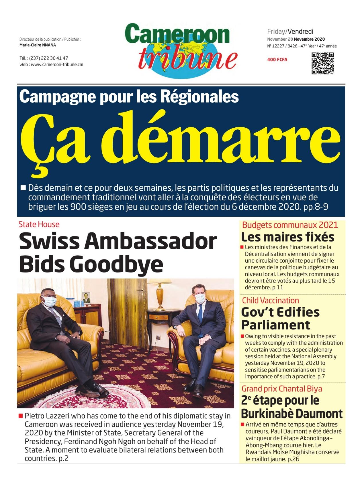 Cameroon Tribune - 20/11/2020