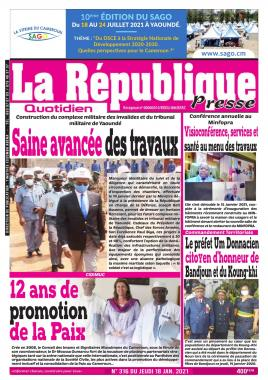LA REPUBLIQUE PRESSE - 18/01/2021