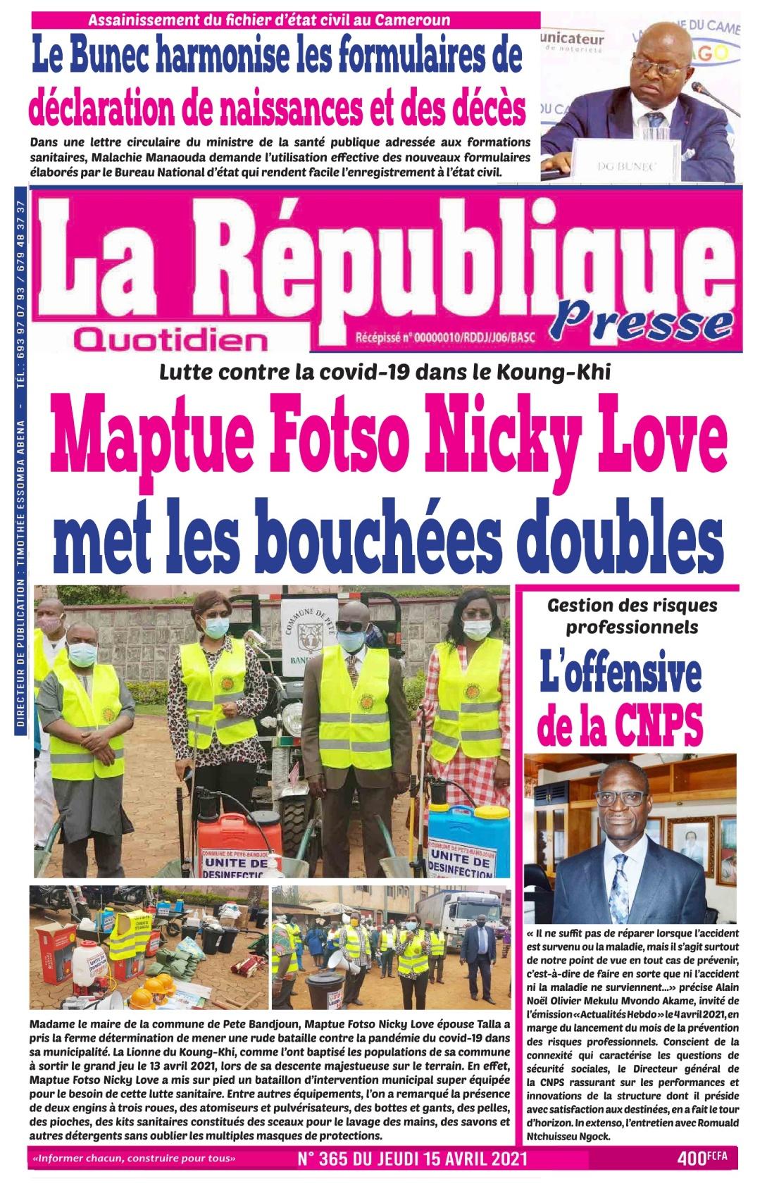 LA REPUBLIQUE PRESSE - 15/04/2021