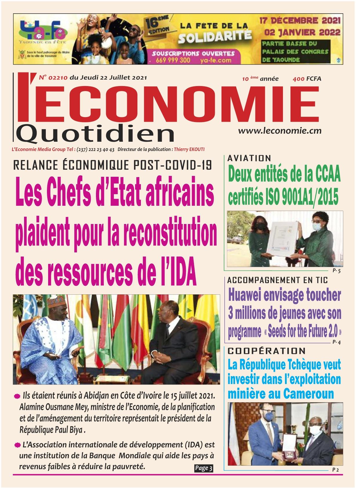 Le Quotidien de l'Economie - 22/07/2021