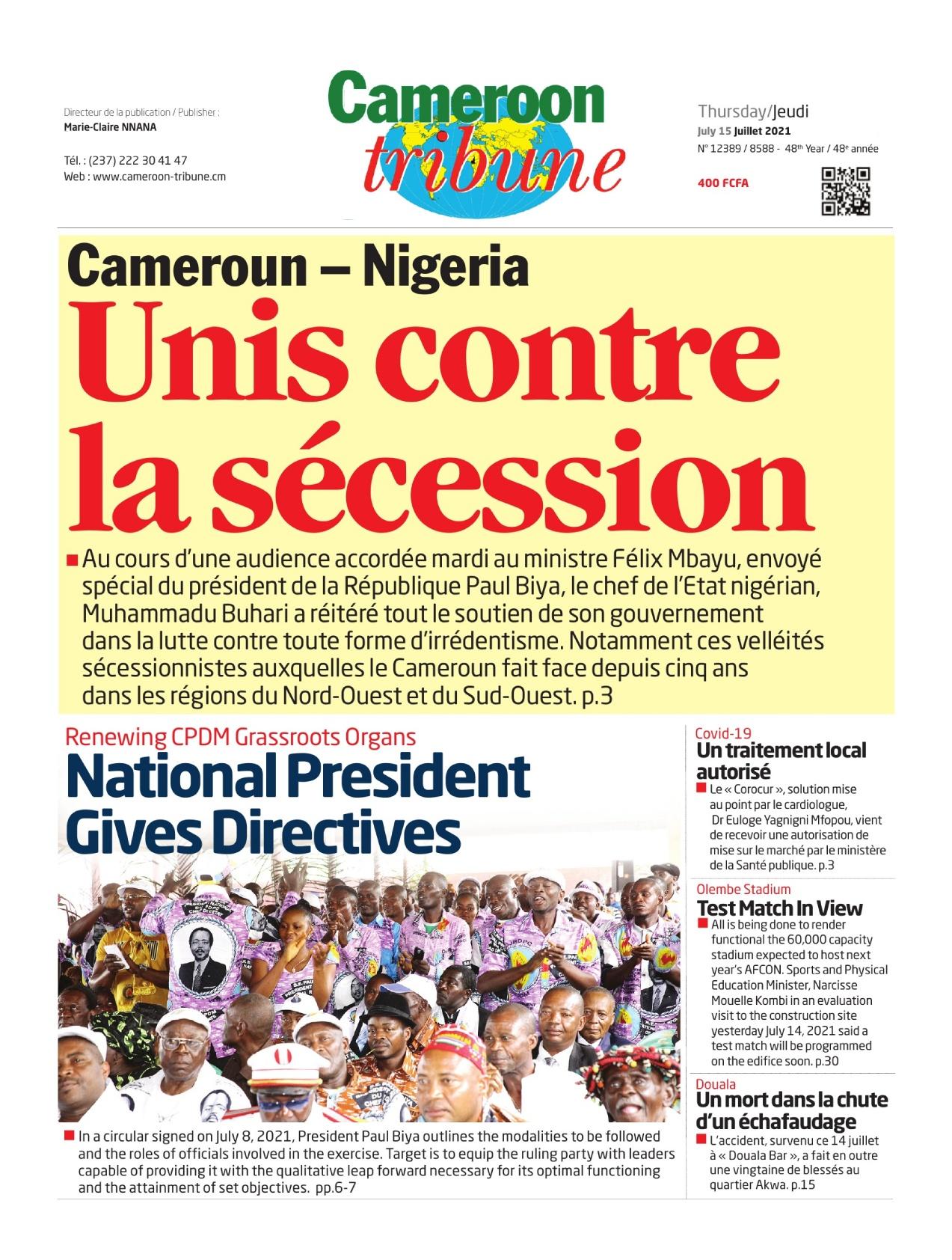 Cameroon Tribune - 15/07/2021