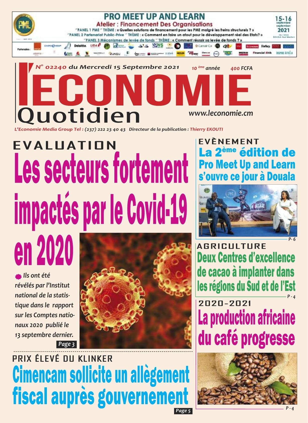 Le Quotidien de l'Economie - 15/09/2021